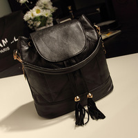 2014 tassel bucket bag vintage preppy style student school bag backpack female bags