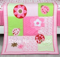 Lovely Pink  Flowers Blossoming Coccinella Septempunctata  For Girls Baby Quilt  Nursery Comforter for Baby Cot Crib Bedding