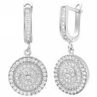 Micro-Pave Cubic Zirconia CZ Crystal Dangling Big Drop 925 Sterling Silver Earrings