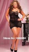 UL399 Plus size XXL 4XL  3XL sexy fishnet lingerie braces skirt nightgown for women sleepwear G string no socks