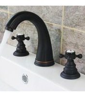 Retro Vintage Bathroom Sink Widespread Faucet Oil Rubbed Bronze Double Cross Ceramic Handles 412K-2