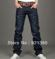 2013 free shipping Korea Men's Jeans Slim Fit Classic denim Jeans Trousers Straight Leg Blue  Button New 6699
