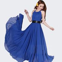 Free Shipping 2013 plus size beach bohemia expansion bottom chiffon full dress bohemia maxi dress