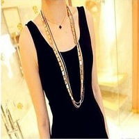 2013 Newest Design Super Cool Gold and black long chains Women chains necklaces Free Shipping Min.order $10 mix order