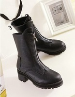 Med boots med heel, Hot sale! 2014 Fashion dress casual handsome style for lady. High quality PU. Free shipping!