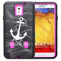 Free Shipping Samsung Galaxy Note 3 N9000 Iron Anchor Hybrid Case High Silicone Case