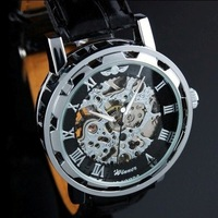 Black Skeleton Mens Mechanical Watch Wrist Watch Gift Free Ship skeleton watch