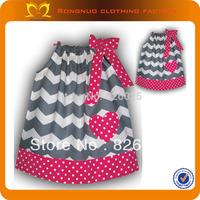 Baby Grey Chevron Dress Hot Pink Dots Hem Bulk Wholesale Kids Clothing Cute Pillow Case Dress 24pcs/lot