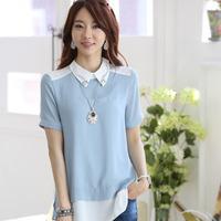 free shipping Fashion women's 2014 summer female short sleeve female short-sleeve chiffon beads shirt women's t-shirt 4 size