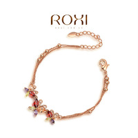 ROXI Christmas Gift Classic Genuine Austrian Crystal Sample Sales Rose Gold Plated Chain Butterfly Bracelet Cuff Jewelry
