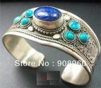design Christmas   Wonderful Tibet Silver inlay Lapis Lazuli Turquoise Cuff Bracelet   fashion jewelry