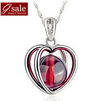GS Brand XL-28 free shipping 2014 for women 925 sterling silver  floating charms Super Garnet  platinum plated pendant necklaces