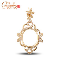 13x15mm Oval Cut 14k Gold 0.37ct Diamond Engagement Semi Mount Pendant Resizable