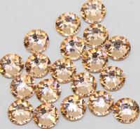 Super Shiny 1440PCS ss6 2mm Champagne Flat back Crystal non-hotfix Glue Fixed LT.PEACH Color Nail Art Flatback Rhinestones