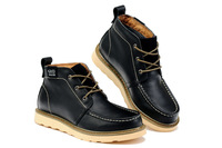 Crazy horse shoes, men's casual fashion frock black high-top shoes 39-44