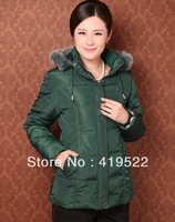 Stock! ! Free shipping big yards thick winter 2013 new women middle-aged cotton padded jacket down coat jacket and long sections