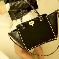 High quality fashion cowhide genuine leather rivet handbag dull polish women's shoulder tote bag