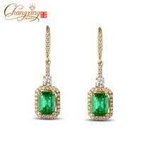 Real 14K Gold 2.32CT Emerald Diamond Engagment Dangle Earrings Free Shipping