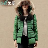 Inman 2013 winter with a hood raccoon fur thickening medium-long down coat female