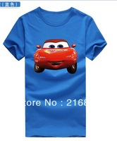 100% Cotton USA Cars Pure Color T-shirt  Movies t-shirts children's Cartoon clothes Children's Clothing