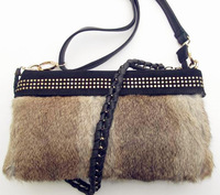2013 hot sale rabbit fur handbag cow genuine leather shoulder girdle chain bag  messenger bag ladies fur bag in shoulder bag
