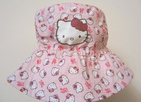 2013 New Children Caps Full of  KT Pattern Export to EU Summer Sunbonnet  Bucket Hats Baby Hat Girls Beach Cap Size 49,51,53cm