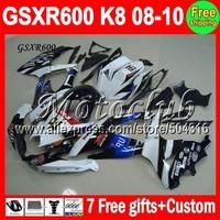 7giftsFor K8 NEW Blue 08 09 10 SUZUKI GSX R600 GSX-R600 GSXR 600 Kit MC3744 GSXR600 Black white 84 # 2008 2009 2010  Fairing