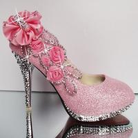 size 35-39 ladies pumps.sexy high heels shoes.10cm party shoes.diamond  wedding shoes flower  women's shoes hh1073