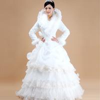 vestido de noiva 2014 vintage     long full sleeves winter warm   plus size matenity       wedding dress bride bridal gown