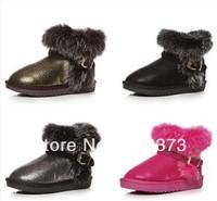 free shipping australian kids fox fur boots children cotton waterproof snow boots baby rabbit fur leather shoes boys girls boots