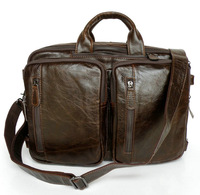 7014Q-1 Real Cow Leather Men's Messenger bag oil waxing Backpack Bag  men  Vintage Briefcase Messenger