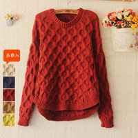 2013 autumn and winter small fresh twist loose pullover sweet thickening o-neck long-sleeve twisted female sweater