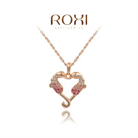 ROXI Christmas Gift Classic Genuine Austrian White Crystals Fashion Luxury Link Chain Hippocampus Fish Heart Shape Big OFF Party