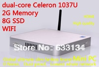 2G/8G SSD With Wifi Mini PC living room computer dual-core Celeron 1037U all-aluminum chassis, fanless motherboard machine