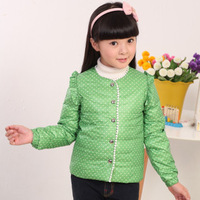 2013 winter girls down jacket female tops children down liner coat short design red,pink,green 6-10 years old free shipping