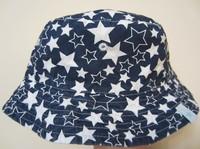 2013 New Children Caps 100% Cotton Blue Color White Star  Summer Sunbonnet  Bucket Hats Baby Hat Girls Beach Cap 48-54