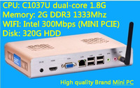 2G/320G Hard disk WIFI Mini PC HTPC Celeron 1037U living room hosts a small aluminum chassis motherboard dual core CPU Stock