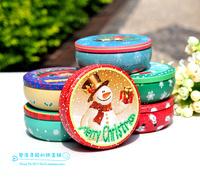 Christmas series tin round box Christmas and snow man box metal box Christmas wholsale