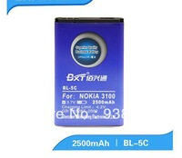BXT Free shipping 2500mAh BL-5C BL 5C Battery Use for Nokia mobile pnone 3100 5130 6230i 1100 1112 1116 1200 1208 1255 1315