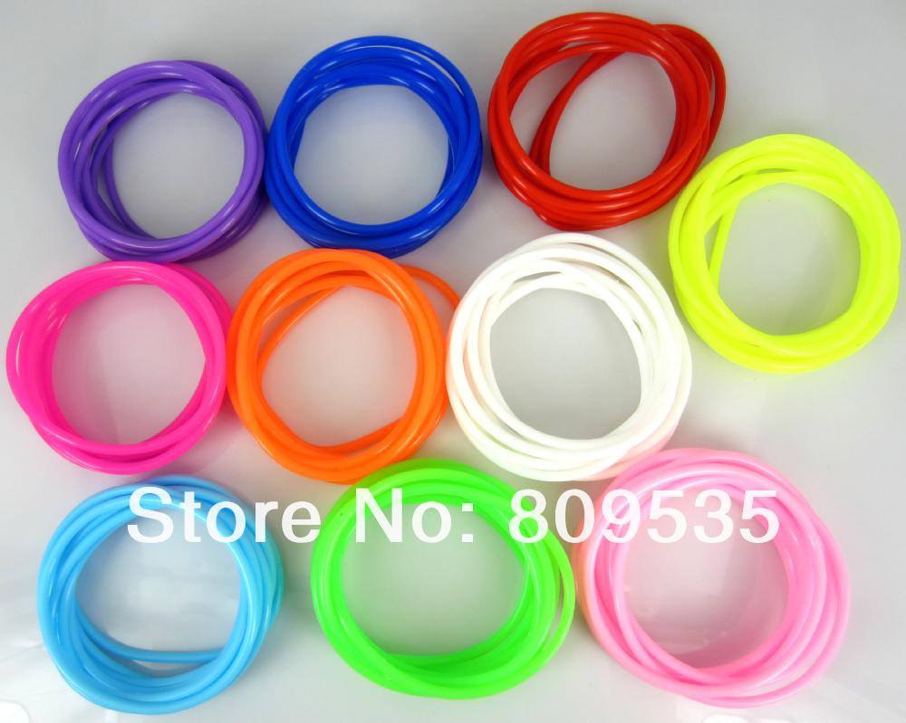 Free Shipping 50pcs Mixed Colors Gummy Silicone Elastic Bands Bracelets(China (Mainland))