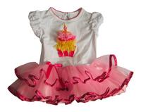 2014 New Summer  Girl Dress Baby Pure 100Cotton TUTU dress Happy Birthday Dress  2 Size 12mos,24mos