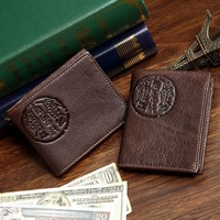New 100% Real Genuine Leather Man's Purse Vintage Pattern Real Leather Male Card Holder Head Cowhide Man Wallet free shipping