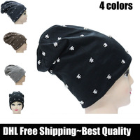 DHL free shiping~2013 New arrival~10 pcs/lot~Fashion cotton Skullies Rivets Beanies Hats for women men~black,grey,coffee-4 color
