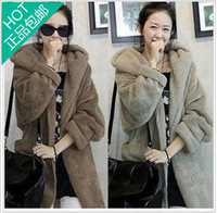 2013 autumn and winter women cloak with a hood plush outerwear autumn women's sweater outerwear