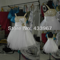 Plus Size Real Samples Dress Flower Girl A-line Square White Ivory Spaghetti Strap Knee Length Gold Sequin Details Party Dress