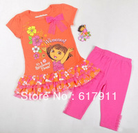 Free Shipping wholesale girls fashion clothing baby girls dora clothing sets kids cartoon clothes brand baby dora suits 2pcs