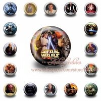 A Set of 18Pcs  Star Wars Tin Buttons pins badges,30MM,Round Brooch Badge  ,Mixed 18 Styles,Kids Party Favor