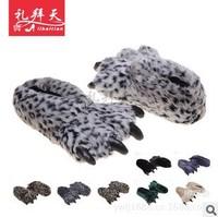 2013 WINTER plush cotton cartoon Adult Men&Women Animal Cartoon Dinosaur Cosplay Fur Pajamas Cover Slippers Paw Claw Shoes Gift