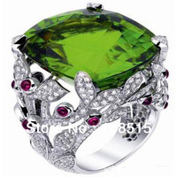 Derongems_Fine Jewelry_Customized Big Natural Tourmaline Luxury Rings_S925 Sterling Silver Big Stone Rings_Factory Directly Sale