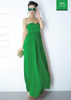 Fashion candy color high waist one-piece dress elegant full brief mopping the floor dress plain cars formal dress
